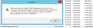 Web Management Service Error