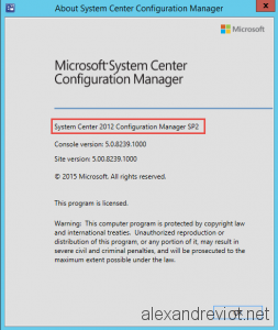 SCCM 2012 SP2 About page