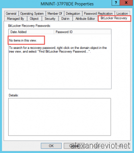 Bitlocker Recovery Key Standard User
