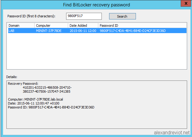 windows 10 bitlocker recovery key not working