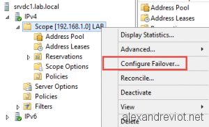 DHCP Failover Configuration