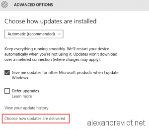 Update Delivered option