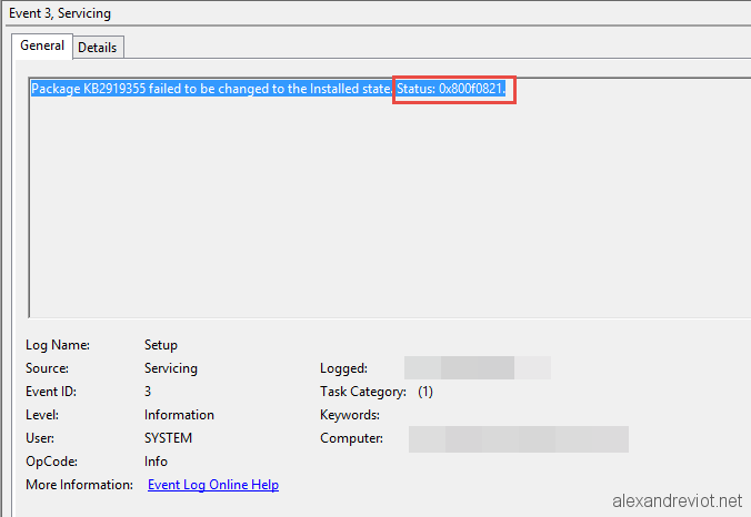 SCCM 2012 - Software Update failed 0x800f0821 - Alexandre VIOT