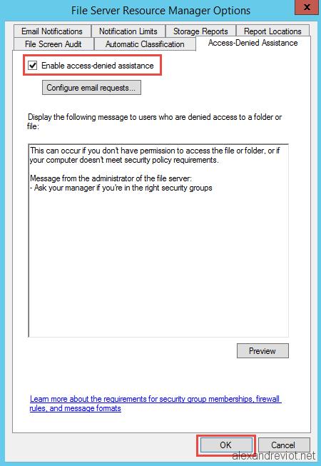 Server 2012 - Customize Access Denied on shared folder
