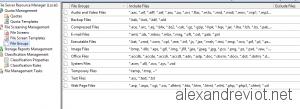 Default File Group extensions