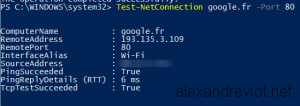 Test-NetConnection with google