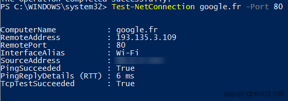 Powershell - Testing a Port with Test-NetConnection - Alexandre VIOT