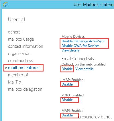 Exchange - Disable access for a mailbox - Alexandre VIOT